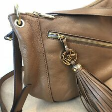 b596be5047 Michael Kors Charm Tassel Leather Purse Tan Hobo Bag Brown Shoulder Tote  Satchel