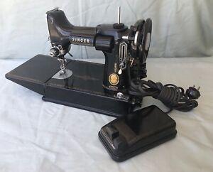 Vintage 1957 Singer Featherweight 221 Sewing Machine & Pedal & Case & Key