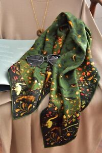 GORGEOUS 100% Real Mulberry Silk Square Scarf Vintage Style Designer Print Shawl