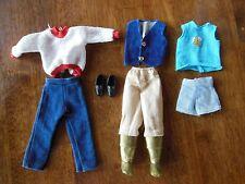 Lot of Ken Doll Fashion Jeans-Vest-Shoes-Jumper-Gold Harem Boots-Blue Shorts-Tee