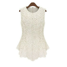 New Ladies Women Clothing Lace Blouse Sleeveless shirt Doll Chiffon Tops dress