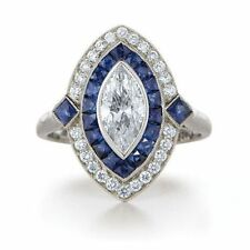 Certified 4.20ct Vintage Art Deco Blue & White Sapphire Engagement 14K Gold Ring