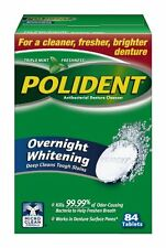 Polident Overnight Whitening, Antibacterial Denture Cleanser Triple Mint 84 Each