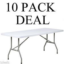 "10 pack 30""x 72"" Granite White Plastic Folding Table Banquet Table $Rebate"