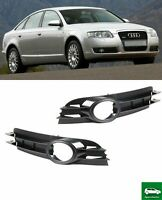 FRONT BUMPER FOG LIGHT GRILLE TRIM PAIR SET COMPATIBLE WITH AUDI A6 C6 2004-2008