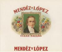 Mendez y Lopez Original Unused Embossed Vintage Inner Cigar Box Label Tampa, Fl.