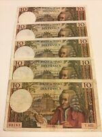 Lot Of 5 X France Banknotes. 10 Francs. Dated 1969-71. Collectible Set,