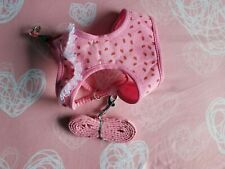 Cute Dog Puppy Harness & Leash Set. Adjustable Padded Vest Pink Strawberry Lace