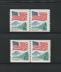 US EFO, ERROR Stamps: #2280 Flag Yosemite. Green ink freak, coil pair. MNH