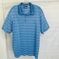 Nike Golf Men's XL Shirt Dri-Fit Blue White Stripe Polo Short Sleeved #Y