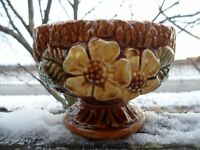 Vintage Sculptured Wheat Planter Japan 2205 Bowl Brown Yellow Flower Pottery