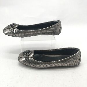 Michael Kors Womens 8.5M Casual Ballet Flats Snakeskin Embossed Leather Bronze