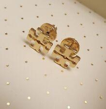 Tory Burch Gold T Logo Stud Earrings New