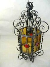 Lampadario lampione lanterna in ferro battuto con vetro