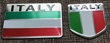 ALUMINUM Italian Flag Emblem Sticker 3D Decal COMBO PACK For Auto, Car, Truck