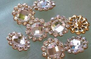 Clear Glass Rhinestone Gold Metal  Buttons 23 mm Bridal Embellishment 10 Pieces