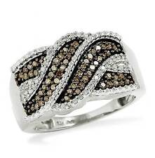 Diamond Band 10K White Gold Chocolate Brown & White Diamond Twist Ring .35ct