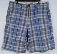 American Eagle Chino Shorts Men's 36 Longer Length Blue Gray Plaid Casual