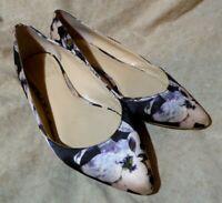 🥿 Vince Camuto Pointy Toe Ballet Flats sz 8 M Black & Blush Flowers; Heel Studs