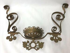 Antique Vtg Hanging Oil Lamp Frame Lower Font Part Arms Eastlake Victorian Gold
