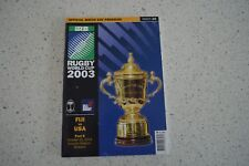 Fiji Vs Usa Rare 2003 Rugby World Cup Programme! Rugby Union
