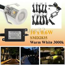10x LED Deck Path Light 30mm Warm White Outdoor Garden Stairs Yard Lamp + Driver