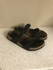 Birkenstock Birkis Womens Sz 37/6 Birko Flor Black Walking Sandals Double Strap