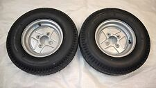 "Pair of 500x10 6ply 4"" PCD Trailer Wheels & Tyres - 5.00x10 Grease Nipple Cutout"