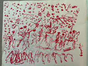 Purvis Young Signed Ink - People, Horses & Planets - Original Art Unframed