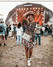 Zara Flowing Sheer Embroidered Patchwork Boho Dress Festival Ruffle M