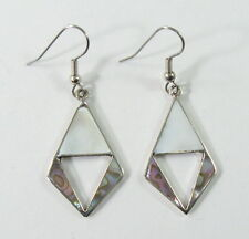 Alpaca silver 2-shell earrings with shell inlay and surgical steel ear wires