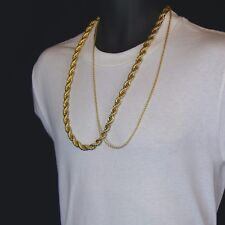 """Men's 24K Gold Plated 10mm & 2.5mm 30"""" Thick Rope Chain Hip Hop Style Set"""