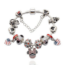 Disney USA Mickey & Minnie Mouse Donald Duck Pandora Charm Bracelet & Charms Hen