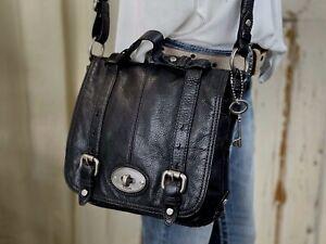 FOSSIL MADDOX Medium BLACK Leather Organizer Traveler Crossbody Messenger Bag
