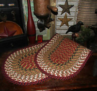 """Primitive Natural Cotton Braided 48"""" TABLE RUNNER Trivet/Placemat Oval #19"""