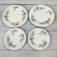 Vtg Royal Albert Kitchen Dining Blue Blossom Bone China Plates & Saucer Set 4