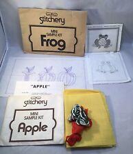 Vtg Creative Village Stitchery Mini Sample Kit Frog Apple Crewel Embroidery Kit
