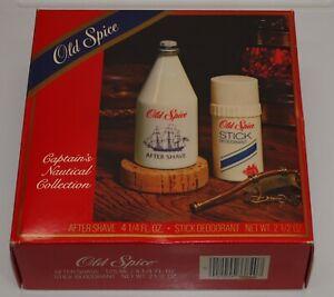 Vtg NOS Shulton OLD SPICE GIFT SET After Shave 4 1/4 oz & Deodorant * Milk Glass