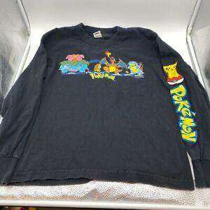 Vintage Retro Pokemon Long Shirt Children's Large Black 1999 Pikachu Charizard