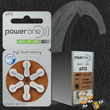 60 Pcs Power One P312 Hearing Aid Battery Zinc Air 10 Packs Wholesale Price