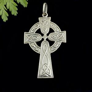 Large Solid Sterling Silver Celtic Trinity Cross Pendant For Leather or Chain