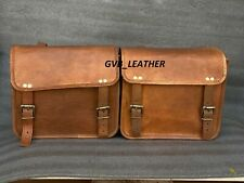 Quality Leather Motorcycle Saddle Bags Two Left Right Side 2 Pouch Panniers Bags
