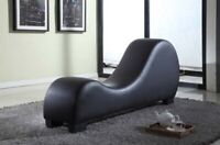 Chaise Lounge Yoga Chair Recliner Sex Sofa Loveseat Black Faux Leather Stretch