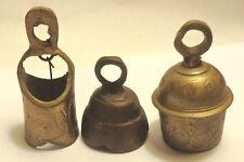 3 Vintage Brass Bells
