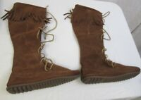 Minnetonka Moccasins Boot Size 9 Front Lace Knee High Brown