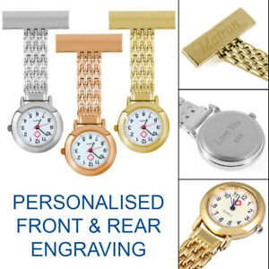 ENGRAVED NURSES FOB/TUNIC WATCH CUSTOM PERSONALISED NURSE/CARER GRADUATION GIFT