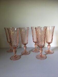 6 Vtg Pink Swirl Luminarc Arcoroc Rosaline Glass Tall Champagne Flutes France