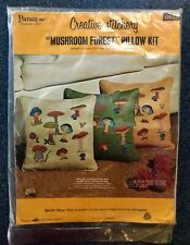 "New listing Vintage Paragon Needlecraft Creative Stitchery ""Mushroom Forest"" Pillow Kit"