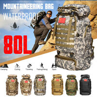 80L Mountaineering Bag Backpack Camouflage Sport Travel Camping Hiking  -)