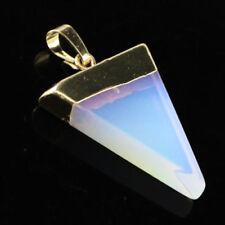 EPIC STONE-Opalite Triangle Slat Pendant-Reiki Chakra--Silver Chain